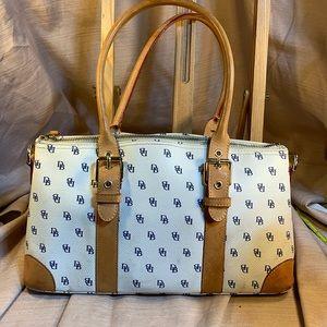 Dooney & Bourke leather satchel w/logo pattern
